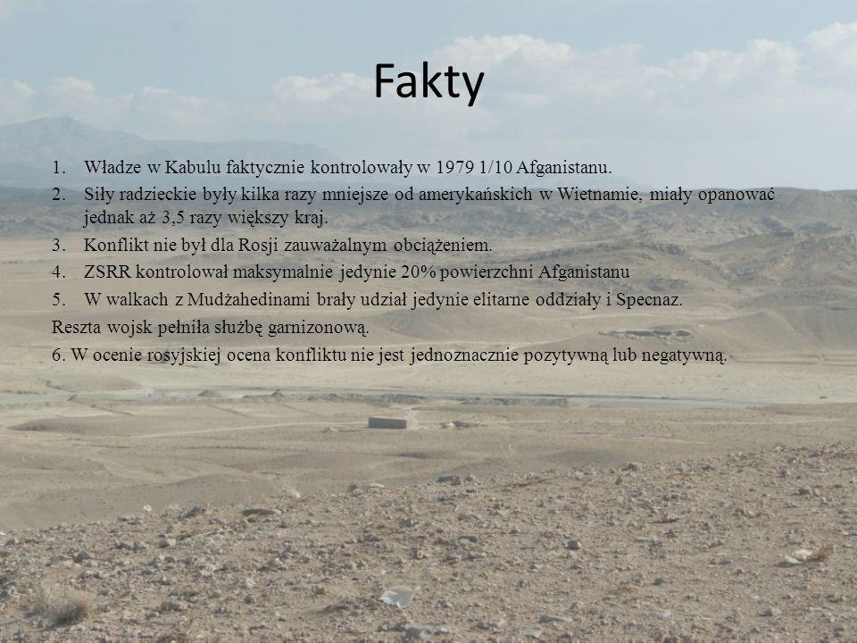 Fakty 1.Władze w Kabulu faktycznie kontrolowały w 1979 1/10 Afganistanu. 2.Siły radzieckie były kilka razy mniejsze od amerykańskich w Wietnamie, miał