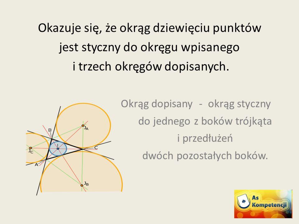 Okazuje się, że okrąg dziewięciu punktów jest styczny do okręgu wpisanego i trzech okręgów dopisanych. Okrąg dopisany - okrąg styczny do jednego z bok