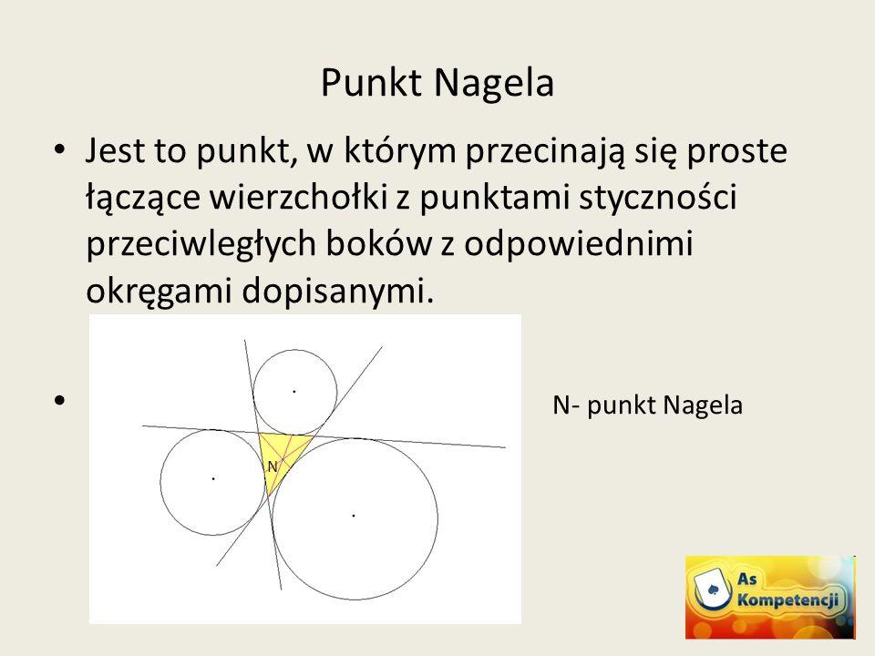 Punkt Nagela Jest to punkt, w którym przecinają się proste łączące wierzchołki z punktami styczności przeciwległych boków z odpowiednimi okręgami dopi
