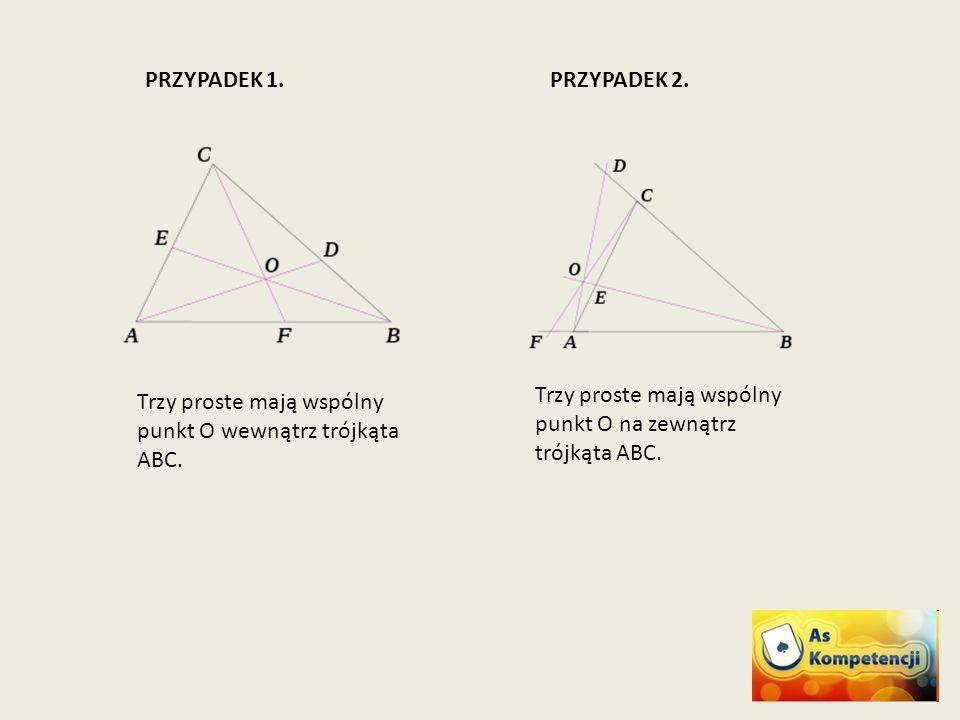 Trzy proste mają wspólny punkt O na zewnątrz trójkąta ABC. Trzy proste mają wspólny punkt O wewnątrz trójkąta ABC. PRZYPADEK 1.PRZYPADEK 2.