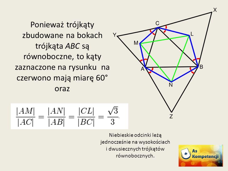 Ponieważ trójkąty zbudowane na bokach trójkąta ABC są równoboczne, to kąty zaznaczone na rysunku na czerwono mają miarę 60° oraz Niebieskie odcinki le