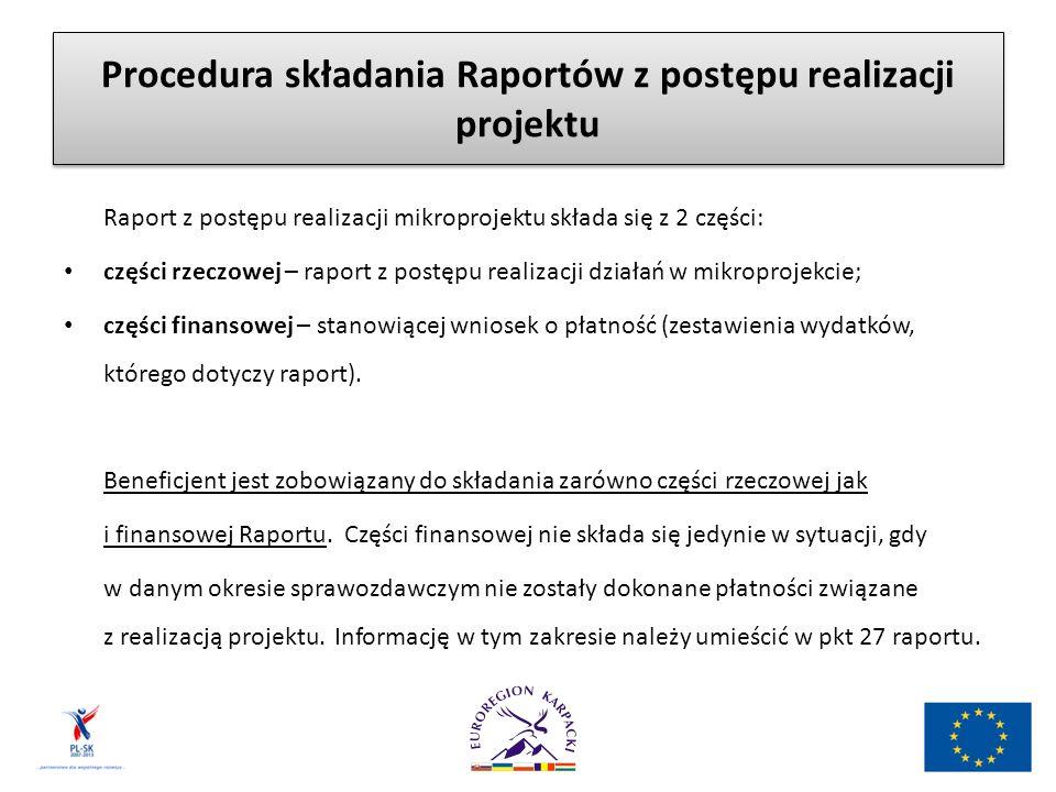 Procedura składania Raportów z postępu realizacji projektu Raport z postępu realizacji mikroprojektu składa się z 2 części: części rzeczowej – raport z postępu realizacji działań w mikroprojekcie; części finansowej – stanowiącej wniosek o płatność (zestawienia wydatków, którego dotyczy raport).