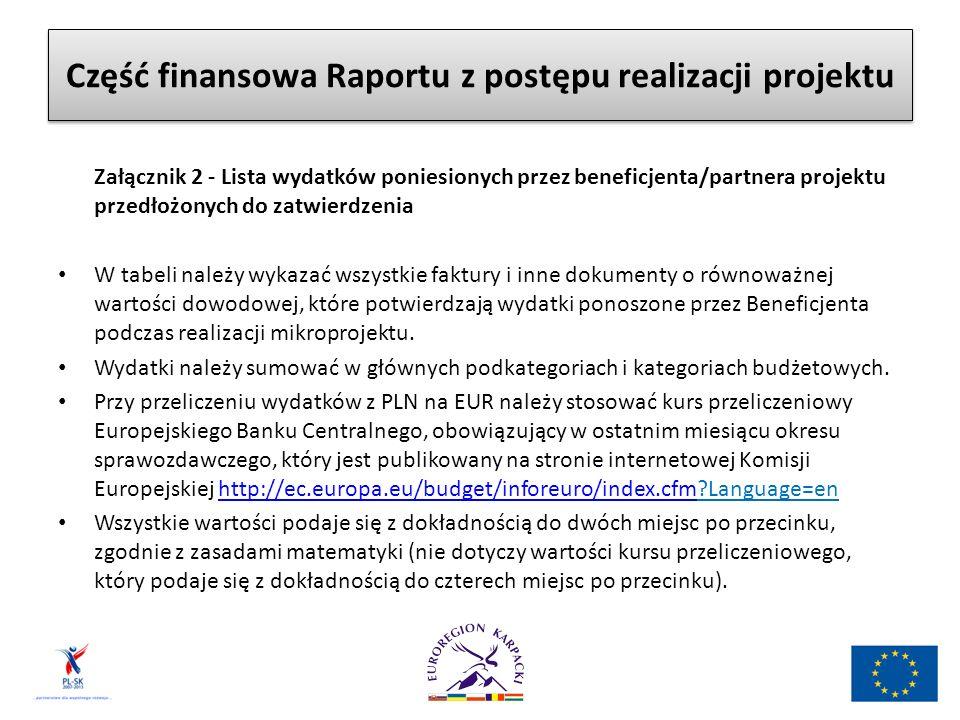Część finansowa Raportu z postępu realizacji projektu Załącznik 2 - Lista wydatków poniesionych przez beneficjenta/partnera projektu przedłożonych do zatwierdzenia W tabeli należy wykazać wszystkie faktury i inne dokumenty o równoważnej wartości dowodowej, które potwierdzają wydatki ponoszone przez Beneficjenta podczas realizacji mikroprojektu.