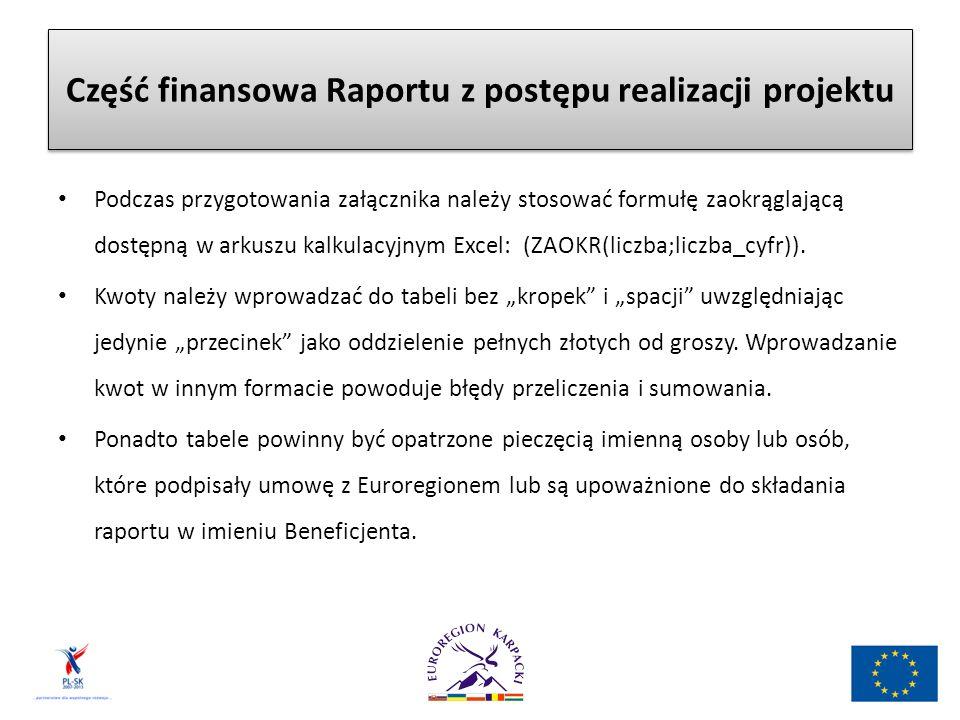 Część finansowa Raportu z postępu realizacji projektu Podczas przygotowania załącznika należy stosować formułę zaokrąglającą dostępną w arkuszu kalkulacyjnym Excel: (ZAOKR(liczba;liczba_cyfr)).