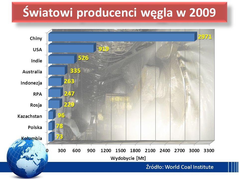 Światowi producenci węgla w 2009 Źródło: World Coal Institute