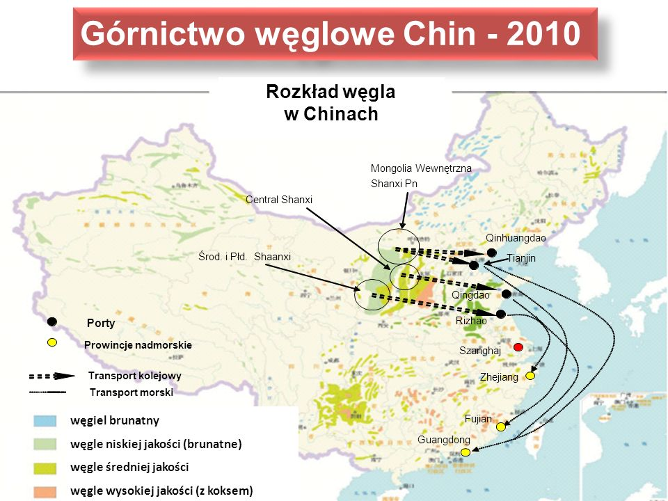 Mongolia Wewnętrzna Shanxi Pn Tianjin Qingdao Qinhuangdao Guangdong Fujian Zhejiang Porty Prowincje nadmorskie Central Shanxi Środ. i Płd. Shaanxi Riz