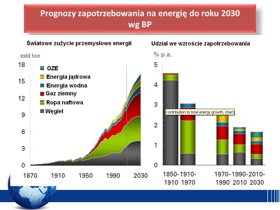 Prognozy zapotrzebowania na energię do roku 2030 wg BP Prognozy zapotrzebowania na energię do roku 2030 wg BP