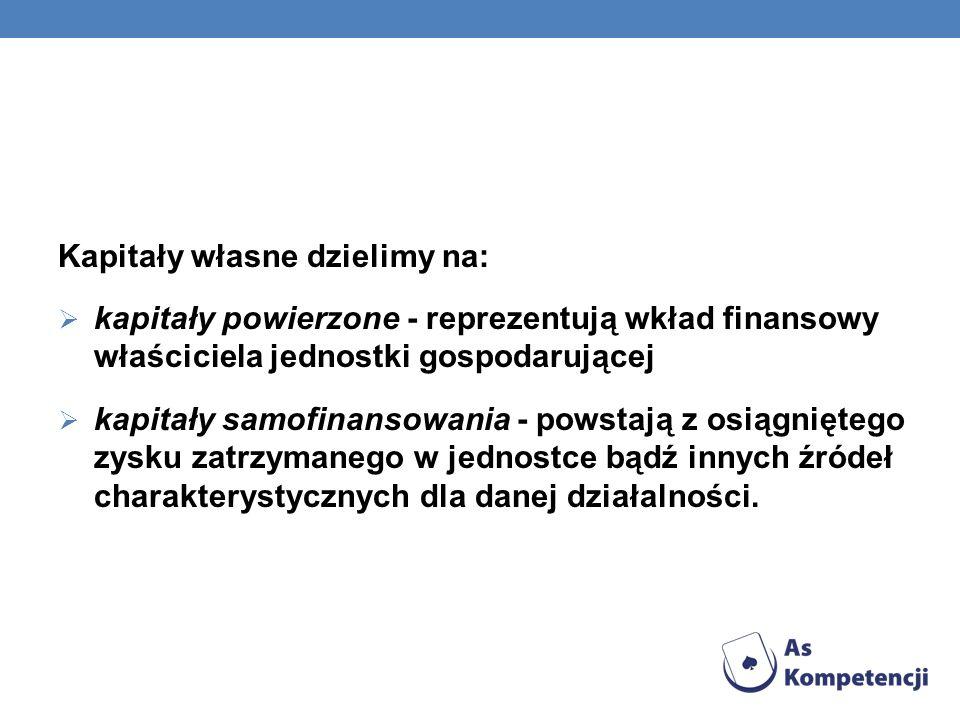 Kapitały własne dzielimy na: kapitały powierzone - reprezentują wkład finansowy właściciela jednostki gospodarującej kapitały samofinansowania - powst