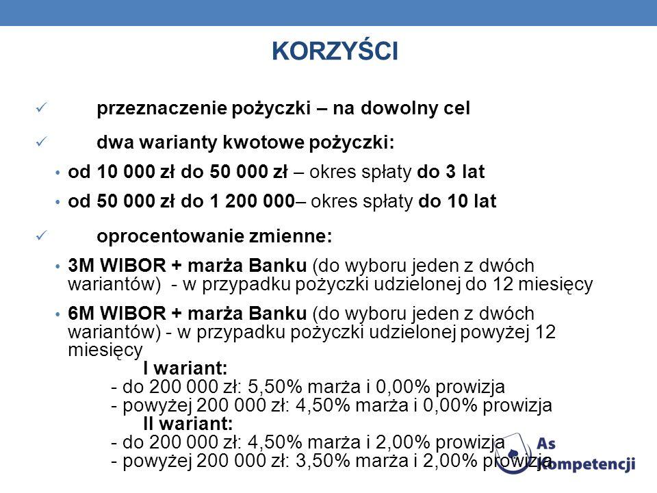 KORZYŚCI przeznaczenie pożyczki – na dowolny cel dwa warianty kwotowe pożyczki: od 10 000 zł do 50 000 zł – okres spłaty do 3 lat od 50 000 zł do 1 20
