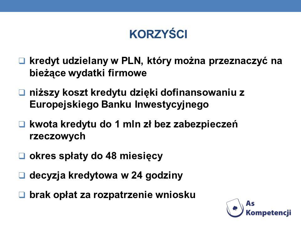 KORZYŚCI kredyt udzielany w PLN, który można przeznaczyć na bieżące wydatki firmowe niższy koszt kredytu dzięki dofinansowaniu z Europejskiego Banku I