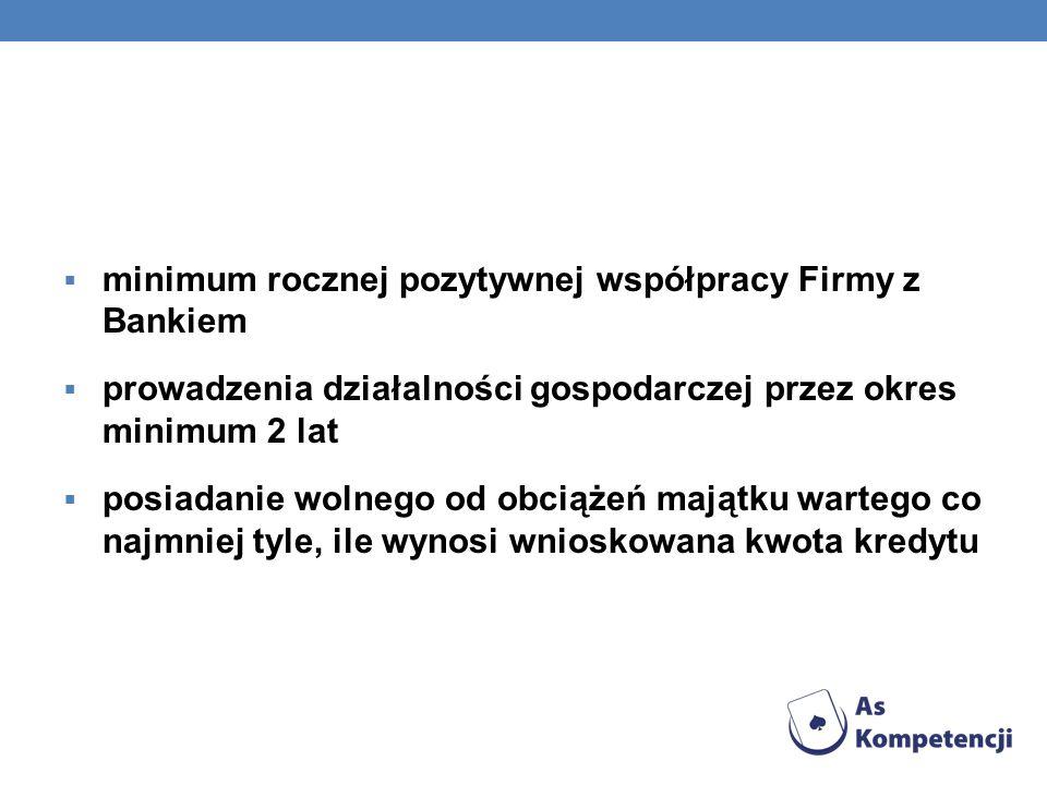 minimum rocznej pozytywnej współpracy Firmy z Bankiem prowadzenia działalności gospodarczej przez okres minimum 2 lat posiadanie wolnego od obciążeń m