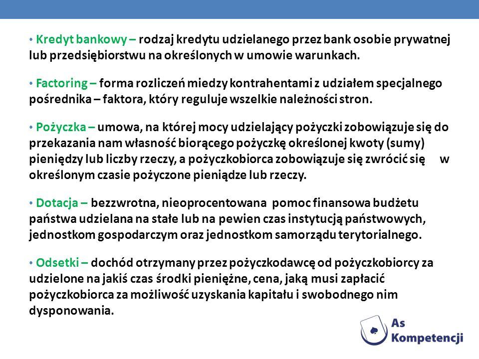 Kredyt bankowy – rodzaj kredytu udzielanego przez bank osobie prywatnej lub przedsiębiorstwu na określonych w umowie warunkach. Factoring – forma rozl
