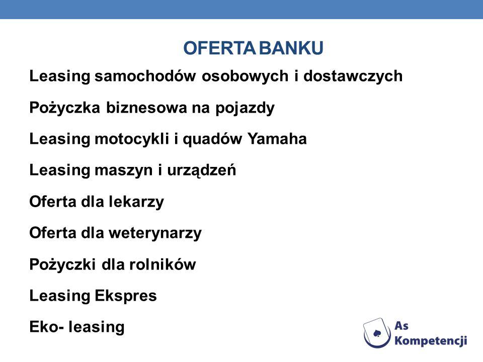 OFERTA BANKU Leasing samochodów osobowych i dostawczych Pożyczka biznesowa na pojazdy Leasing motocykli i quadów Yamaha Leasing maszyn i urządzeń Ofer