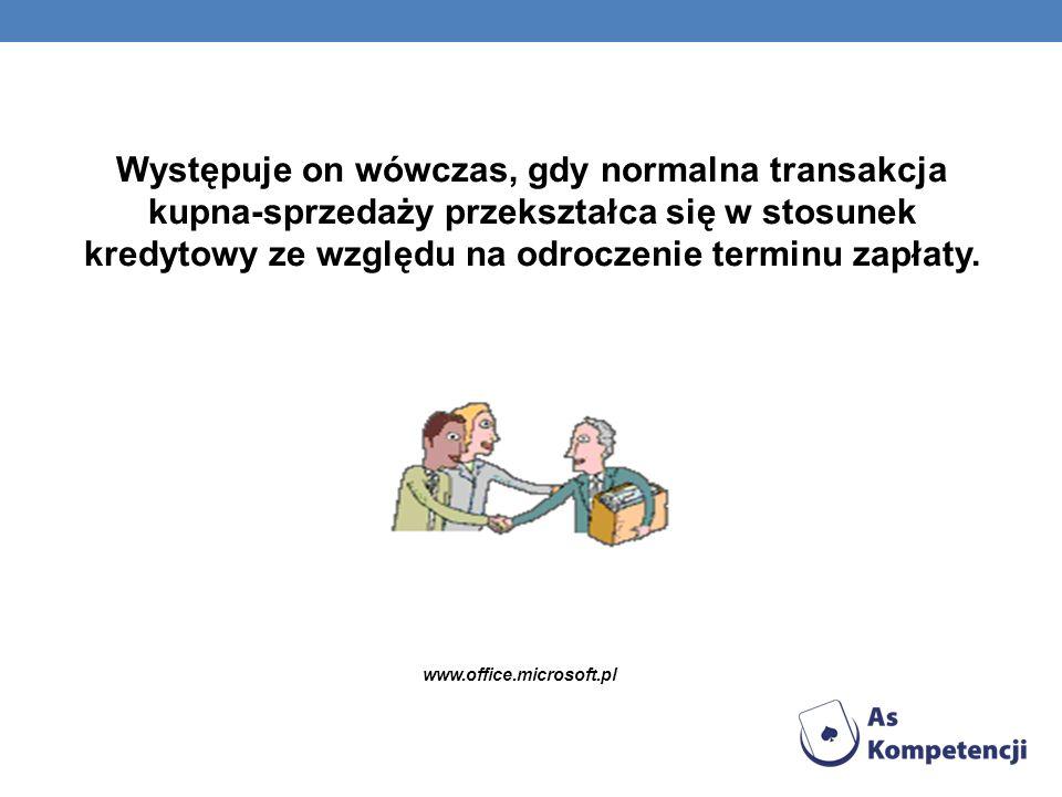 Występuje on wówczas, gdy normalna transakcja kupna-sprzedaży przekształca się w stosunek kredytowy ze względu na odroczenie terminu zapłaty. www.offi