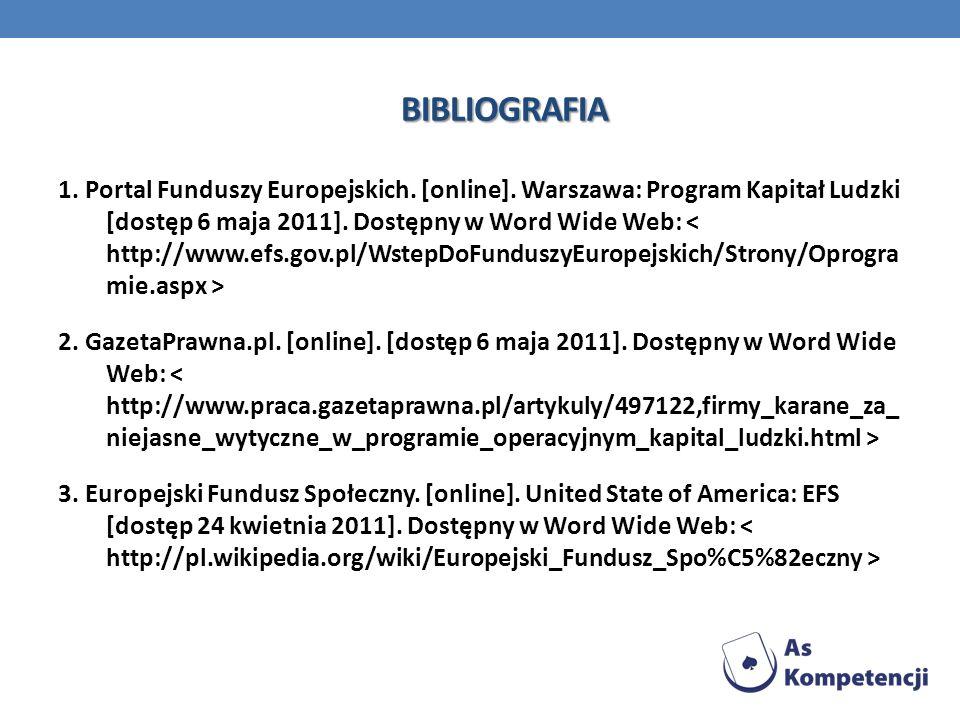 BIBLIOGRAFIA 1. Portal Funduszy Europejskich. [online]. Warszawa: Program Kapitał Ludzki [dostęp 6 maja 2011]. Dostępny w Word Wide Web: 2. GazetaPraw