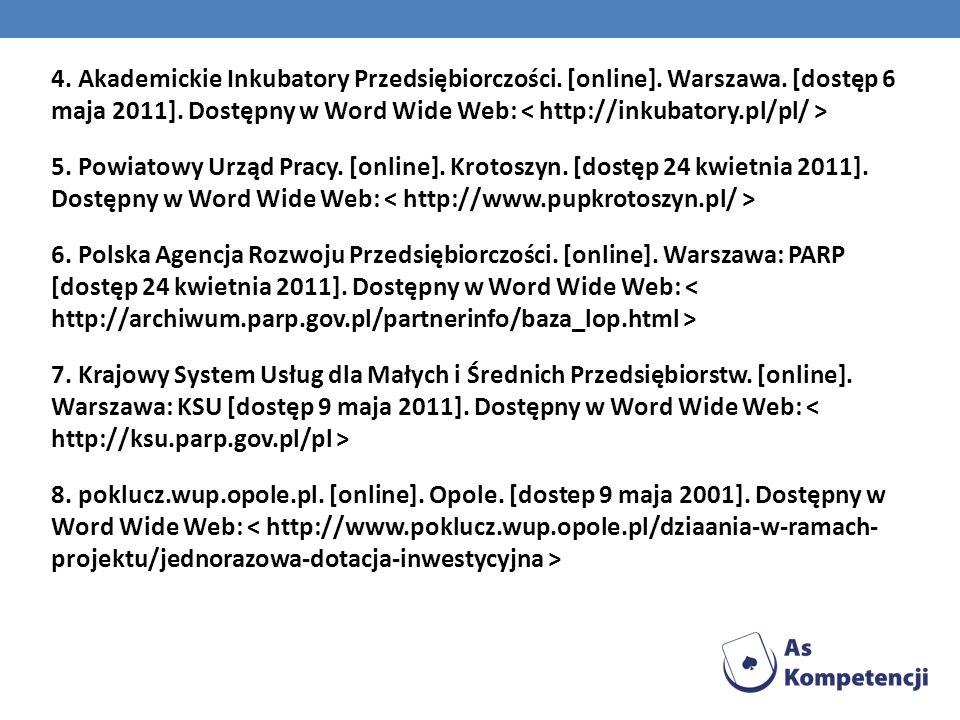 4. Akademickie Inkubatory Przedsiębiorczości. [online]. Warszawa. [dostęp 6 maja 2011]. Dostępny w Word Wide Web: 5. Powiatowy Urząd Pracy. [online].