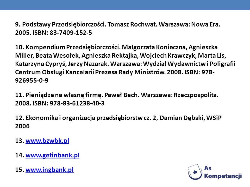 9. Podstawy Przedsiębiorczości. Tomasz Rochwat. Warszawa: Nowa Era. 2005. ISBN: 83-7409-152-5 10. Kompendium Przedsiębiorczości. Małgorzata Konieczna,