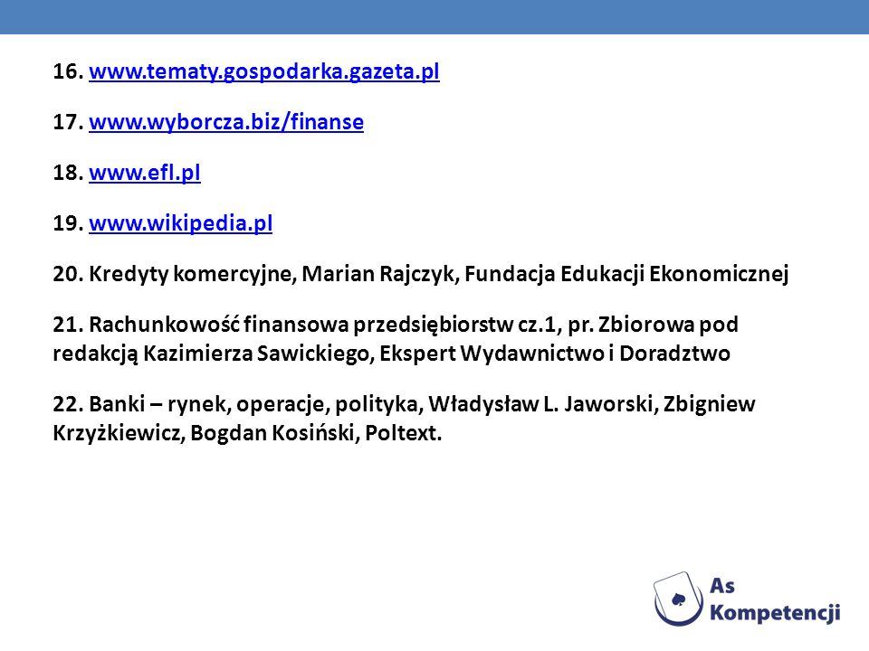 16. www.tematy.gospodarka.gazeta.plwww.tematy.gospodarka.gazeta.pl 17. www.wyborcza.biz/finansewww.wyborcza.biz/finanse 18. www.efl.plwww.efl.pl 19. w