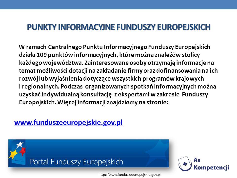 PUNKTY INFORMACYJNE FUNDUSZY EUROPEJSKICH W ramach Centralnego Punktu Informacyjnego Funduszy Europejskich działa 109 punktów informacyjnych, które mo