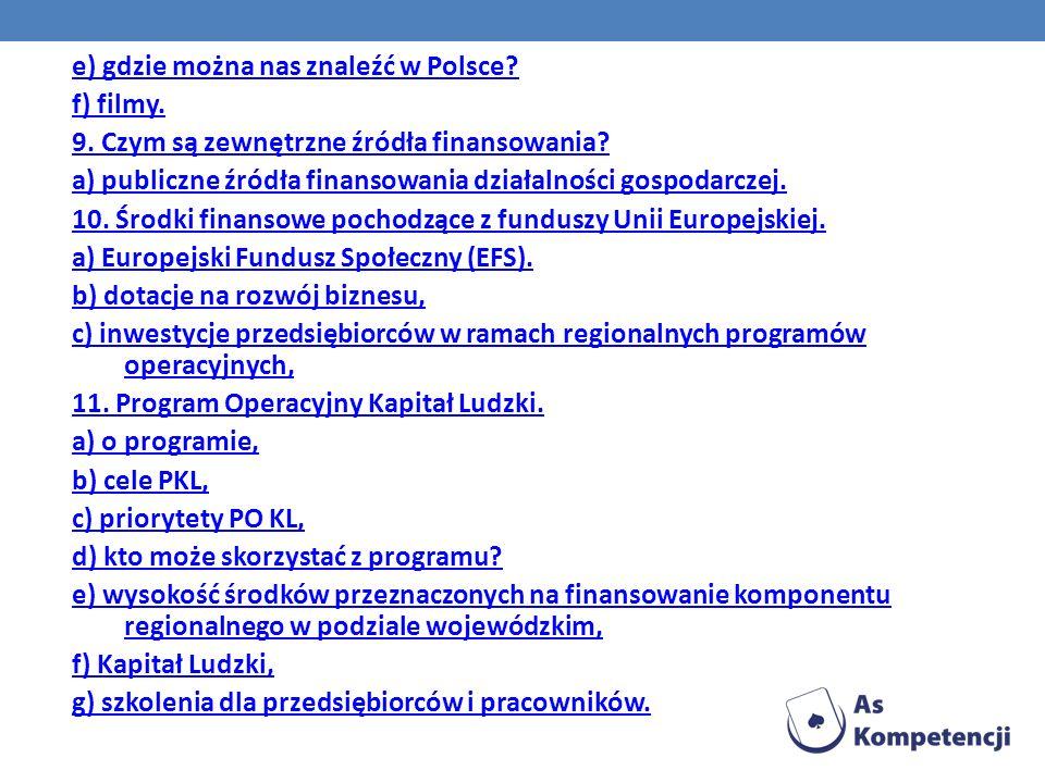 e) gdzie można nas znaleźć w Polsce? f) filmy. 9. Czym są zewnętrzne źródła finansowania? a) publiczne źródła finansowania działalności gospodarczej.
