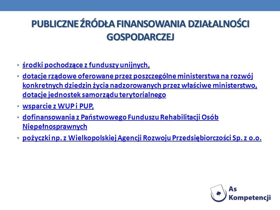 PUBLICZNE ŹRÓDŁA FINANSOWANIA DZIAŁALNOŚCI GOSPODARCZEJ środki pochodzące z funduszy unijnych, dotacje rządowe oferowane przez poszczególne ministerst
