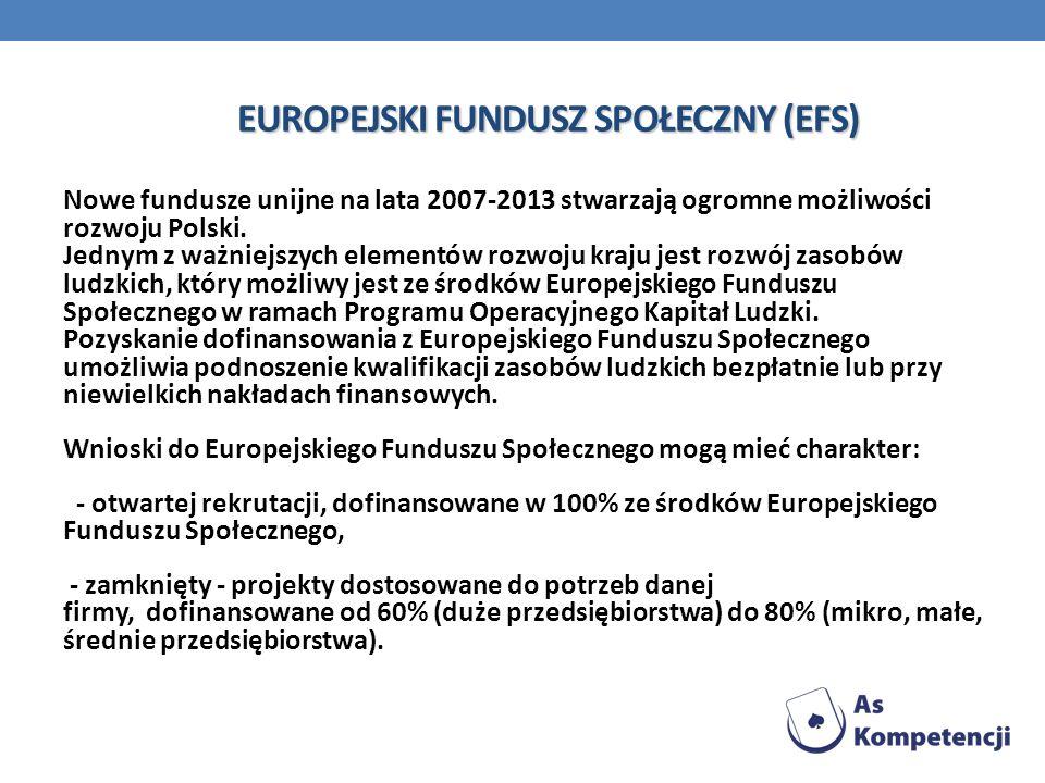 EUROPEJSKI FUNDUSZ SPOŁECZNY (EFS) Nowe fundusze unijne na lata 2007-2013 stwarzają ogromne możliwości rozwoju Polski. Jednym z ważniejszych elementów