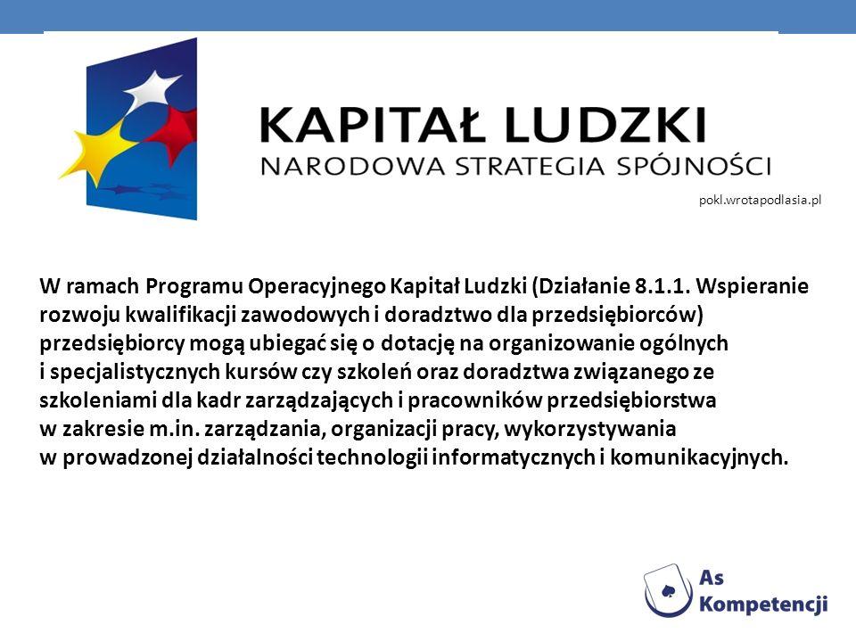 W ramach Programu Operacyjnego Kapitał Ludzki (Działanie 8.1.1. Wspieranie rozwoju kwalifikacji zawodowych i doradztwo dla przedsiębiorców) przedsiębi