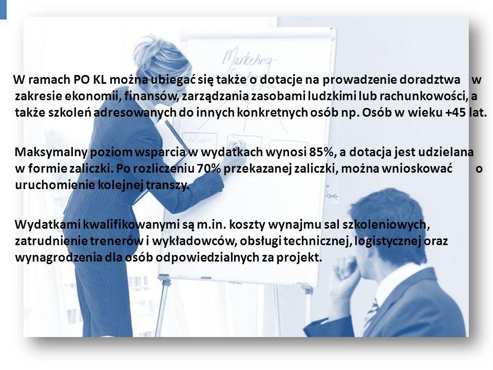 W ramach PO KL można ubiegać się także o dotacje na prowadzenie doradztwa w zakresie ekonomii, finansów, zarządzania zasobami ludzkimi lub rachunkowoś