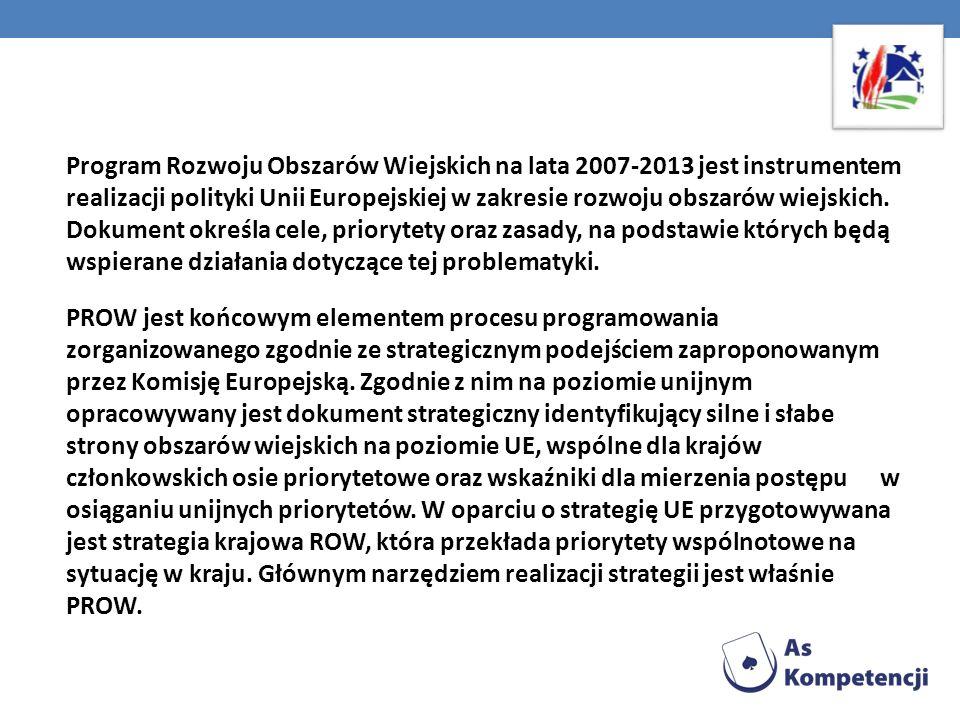 Program Rozwoju Obszarów Wiejskich na lata 2007-2013 jest instrumentem realizacji polityki Unii Europejskiej w zakresie rozwoju obszarów wiejskich. Do