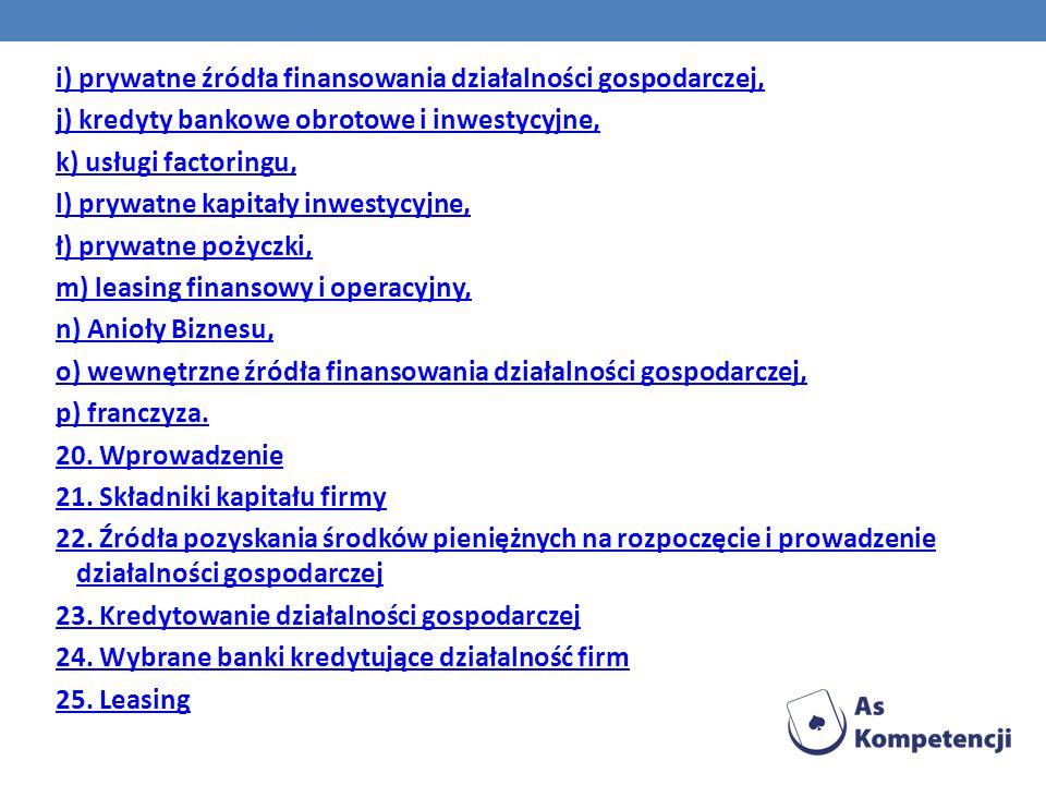 i) prywatne źródła finansowania działalności gospodarczej, j) kredyty bankowe obrotowe i inwestycyjne, k) usługi factoringu, l) prywatne kapitały inwe