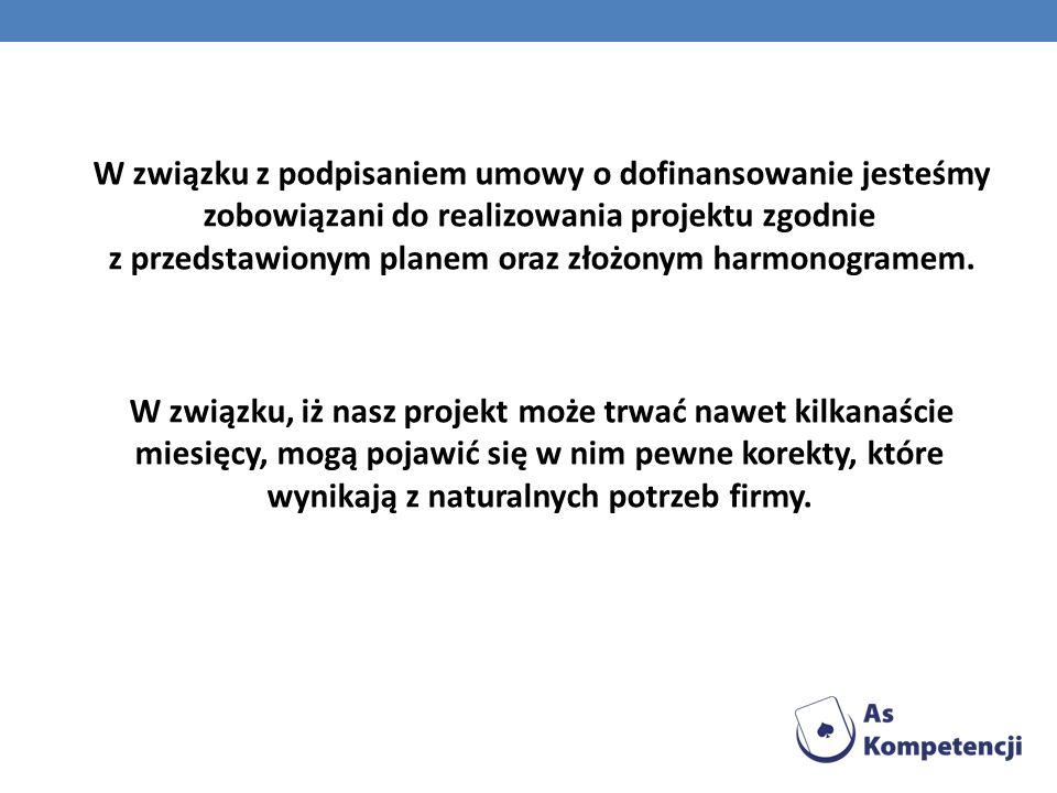 W związku z podpisaniem umowy o dofinansowanie jesteśmy zobowiązani do realizowania projektu zgodnie z przedstawionym planem oraz złożonym harmonogram