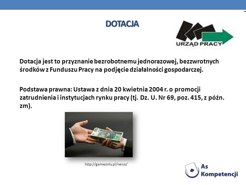 DOTACJA Dotacja jest to przyznanie bezrobotnemu jednorazowej, bezzwrotnych środków z Funduszu Pracy na podjęcie działalności gospodarczej. Podstawa pr