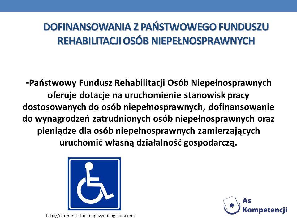 DOFINANSOWANIA Z PAŃSTWOWEGO FUNDUSZU REHABILITACJI OSÓB NIEPEŁNOSPRAWNYCH - Państwowy Fundusz Rehabilitacji Osób Niepełnosprawnych oferuje dotacje na