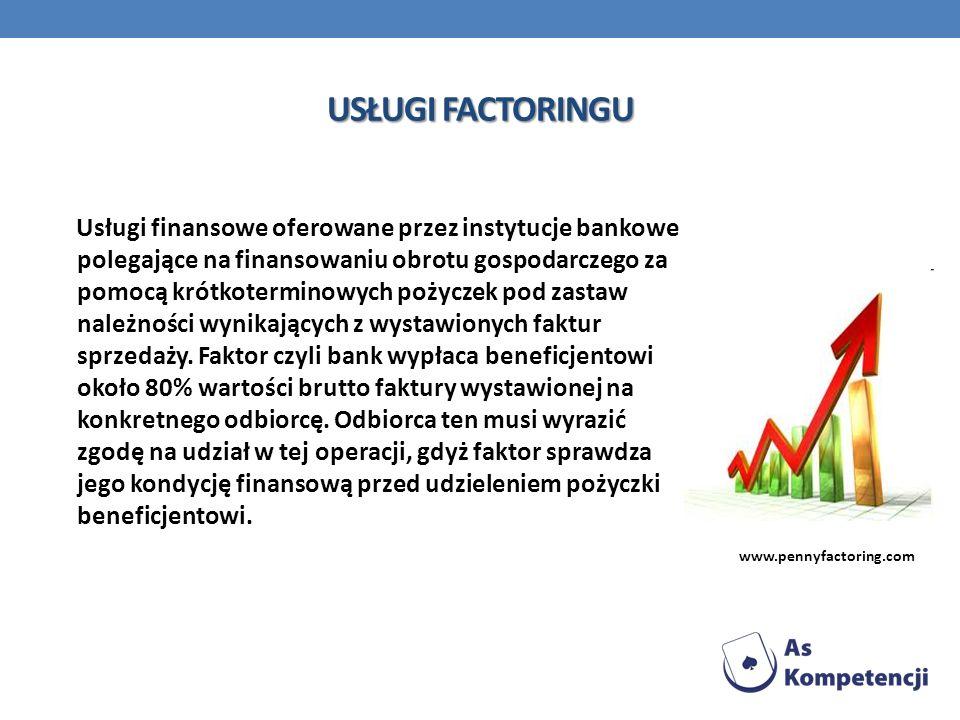 USŁUGI FACTORINGU Usługi finansowe oferowane przez instytucje bankowe polegające na finansowaniu obrotu gospodarczego za pomocą krótkoterminowych poży