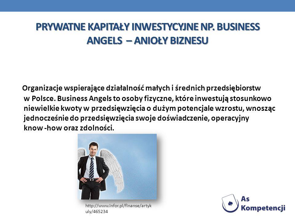 PRYWATNE KAPITAŁY INWESTYCYJNE NP. BUSINESS ANGELS – ANIOŁY BIZNESU Organizacje wspierające działalność małych i średnich przedsiębiorstw w Polsce. Bu