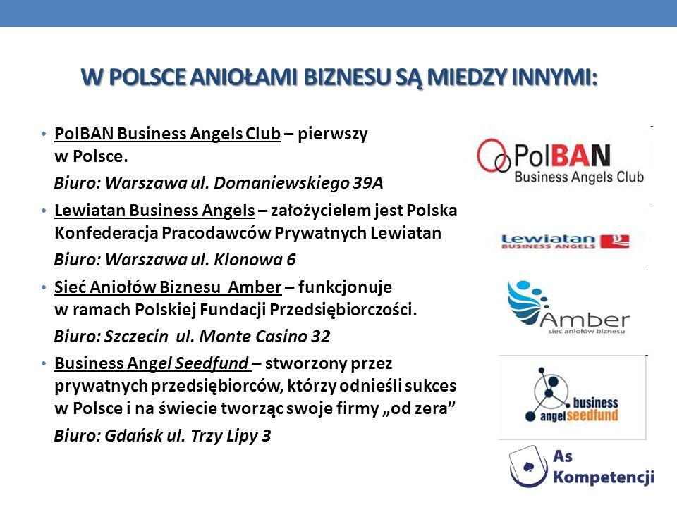 W POLSCE ANIOŁAMI BIZNESU SĄ MIEDZY INNYMI: PolBAN Business Angels Club – pierwszy w Polsce. Biuro: Warszawa ul. Domaniewskiego 39A Lewiatan Business