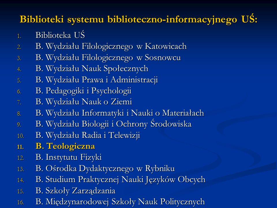 Biblioteki systemu biblioteczno-informacyjnego UŚ: 1.