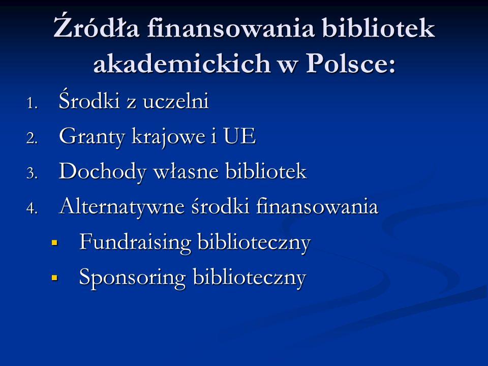 Źródła finansowania bibliotek akademickich w Polsce: 1.