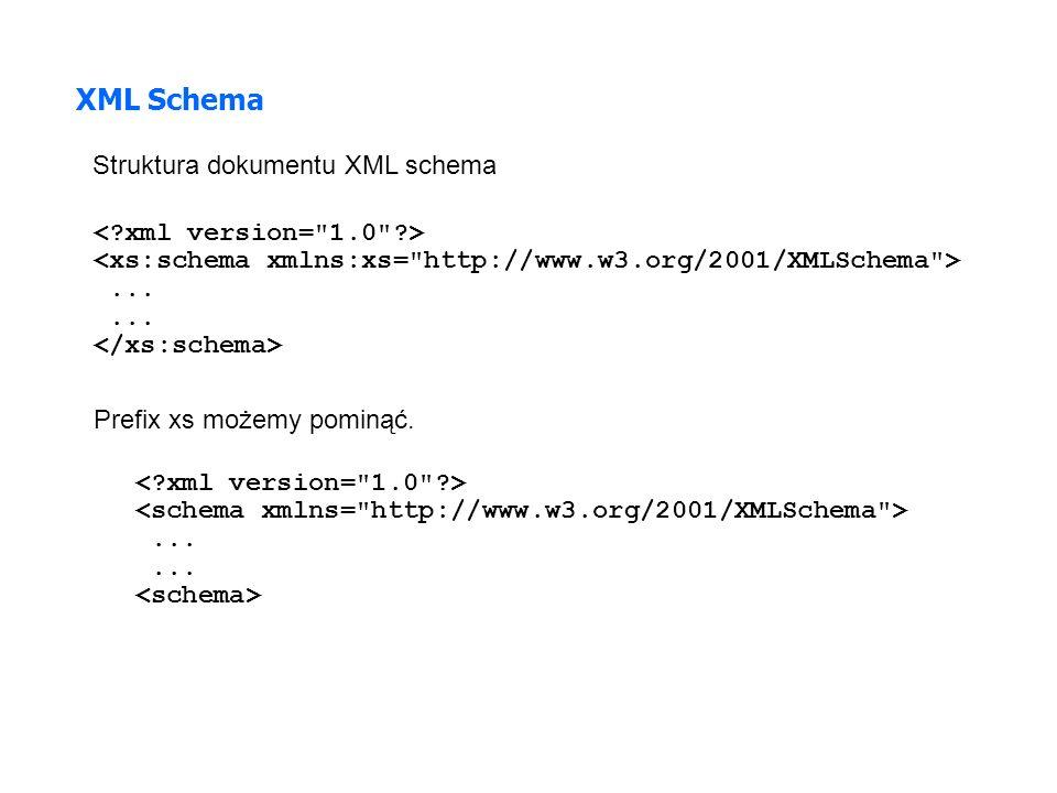 ... XML Schema Struktura dokumentu XML schema Prefix xs możemy pominąć....