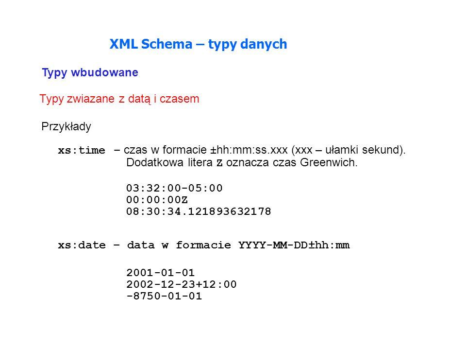 Typy zwiazane z datą i czasem XML Schema – typy danych Przykłady xs:time – czas w formacie ±hh:mm:ss.xxx (xxx – ułamki sekund).