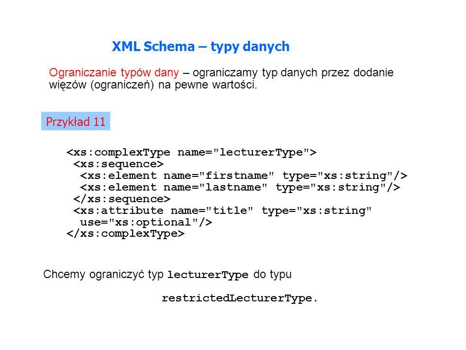 XML Schema – typy danych Ograniczanie typów dany – ograniczamy typ danych przez dodanie więzów (ograniczeń) na pewne wartości.