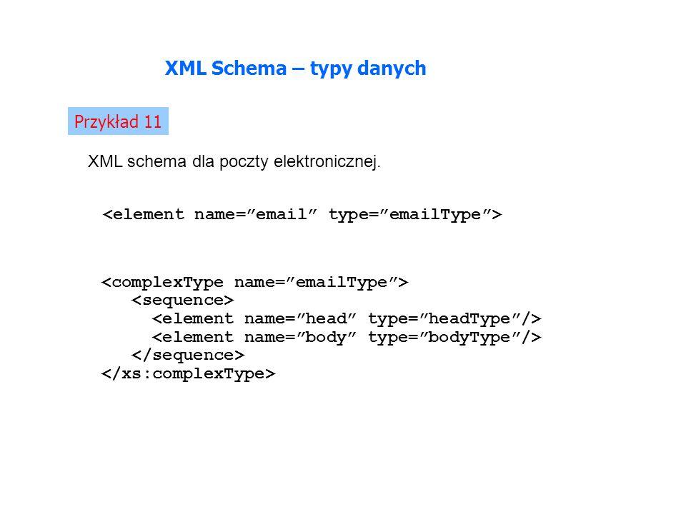Przykład 11 XML Schema – typy danych XML schema dla poczty elektronicznej.