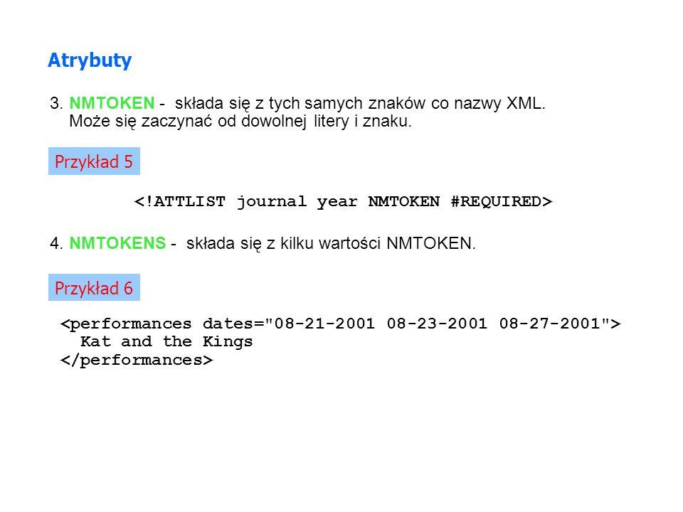 3. NMTOKEN - składa się z tych samych znaków co nazwy XML. Może się zaczynać od dowolnej litery i znaku. Atrybuty Przykład 5 Kat and the Kings 4. NMTO