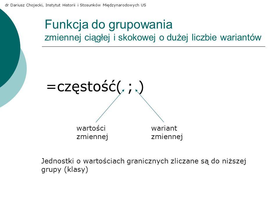 Funkcja do grupowania zmiennej ciągłej i skokowej o dużej liczbie wariantów =częstość( ; ) wartości zmiennej wariant zmiennej Jednostki o wartościach