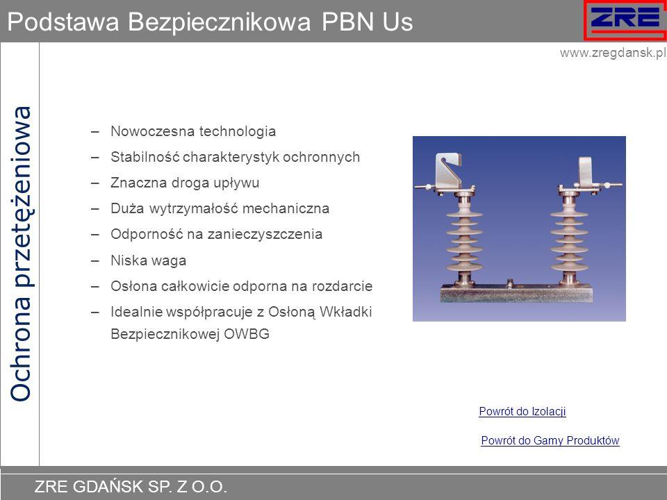 ZRE GDAŃSK SP. Z O.O. www.zregdansk.pl Podstawa Bezpiecznikowa PBN Us –Nowoczesna technologia –Stabilność charakterystyk ochronnych –Znaczna droga upł