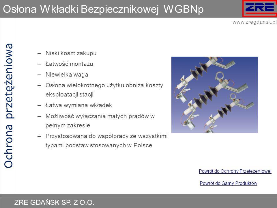 ZRE GDAŃSK SP. Z O.O. www.zregdansk.pl Osłona Wkładki Bezpiecznikowej WGBNp Ochrona przetężeniowa Powrót do Gamy Produktów Powrót do Ochrony Przetężen