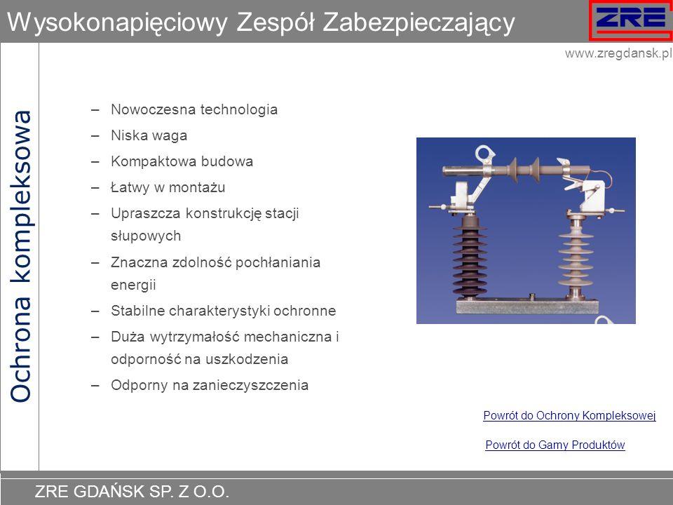 ZRE GDAŃSK SP. Z O.O. www.zregdansk.pl Wysokonapięciowy Zespół Zabezpieczający –Nowoczesna technologia –Niska waga –Kompaktowa budowa –Łatwy w montażu
