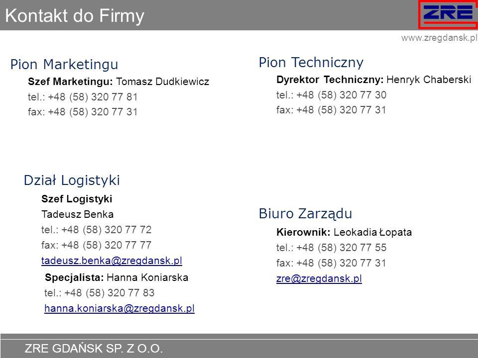 ZRE GDAŃSK SP. Z O.O. www.zregdansk.pl Kontakt do Firmy Pion Marketingu Szef Marketingu: Tomasz Dudkiewicz tel.: +48 (58) 320 77 81 fax: +48 (58) 320