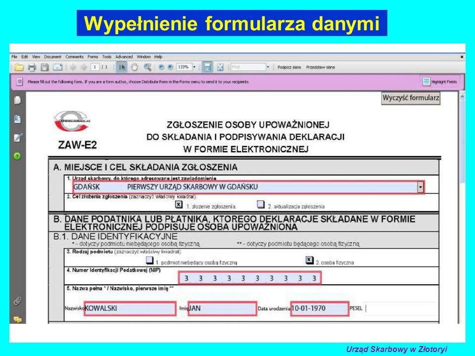 Wypełnienie formularza danymi Urząd Skarbowy w Złotoryi