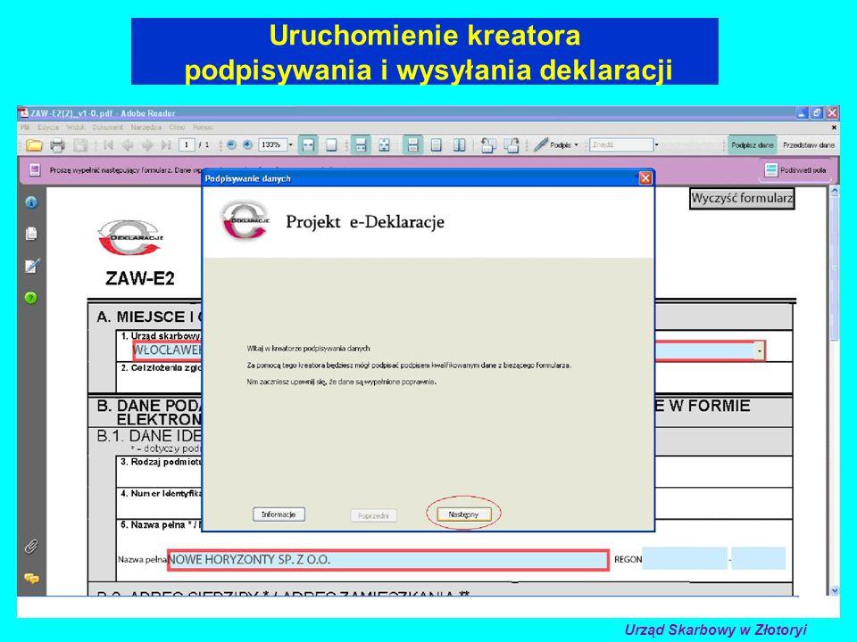 Uruchomienie kreatora podpisywania i wysyłania deklaracji Urząd Skarbowy w Złotoryi